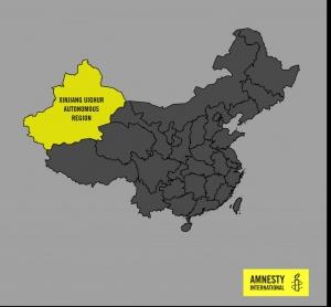 Kiinan kartta, jossa korostettu uiguurialue