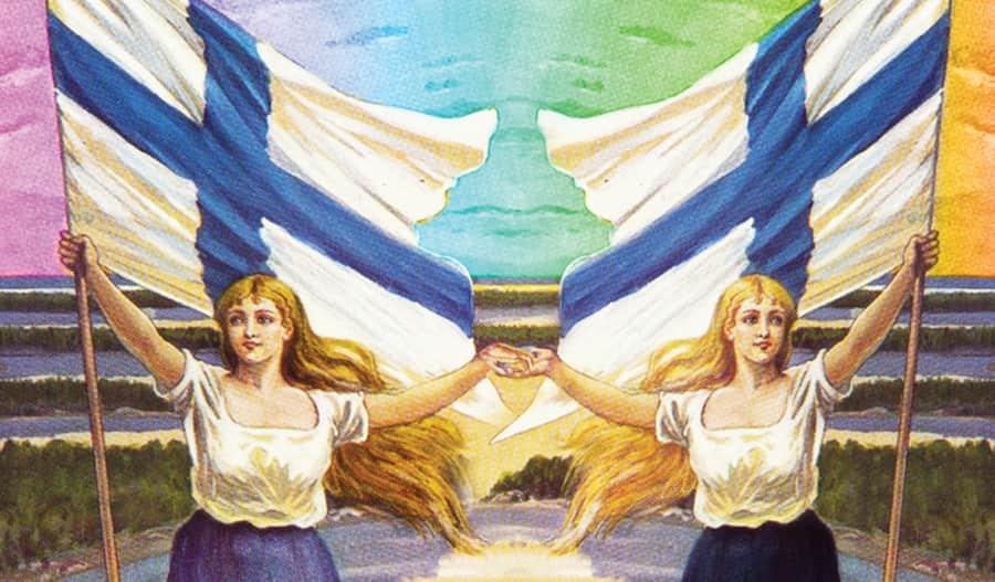Kuvitus, jossa kaksi naista pitelee toisiaan kädestä suuret Suomen liput toisissa käsissään, he seisovat järvimaiseman edessä.