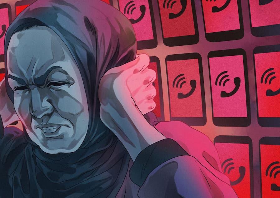 Kuvitus, jossa uiguurinaista häiritään puhelimitse