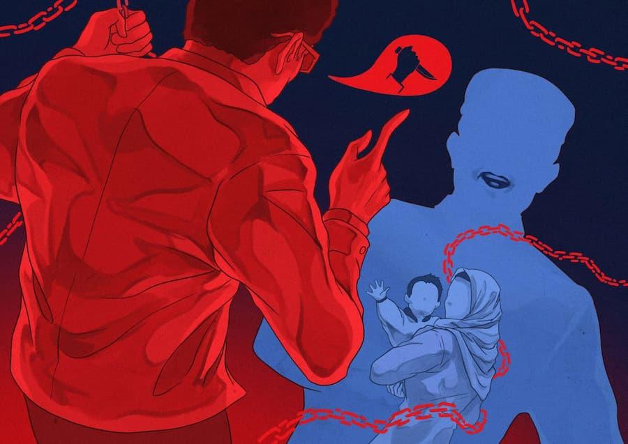 Kuvitus, jossa joku kantelee uiguuriperheestä poliisille