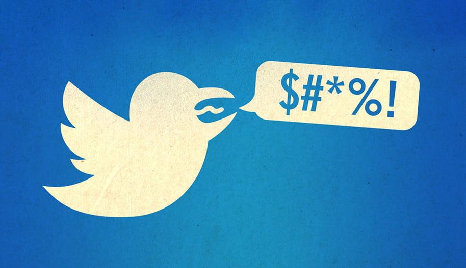 Kuvitus, jossa Twitterin logon lintu huutaa ja sen suusta tulee puhekupla, jossa erilaisia merkkejä.