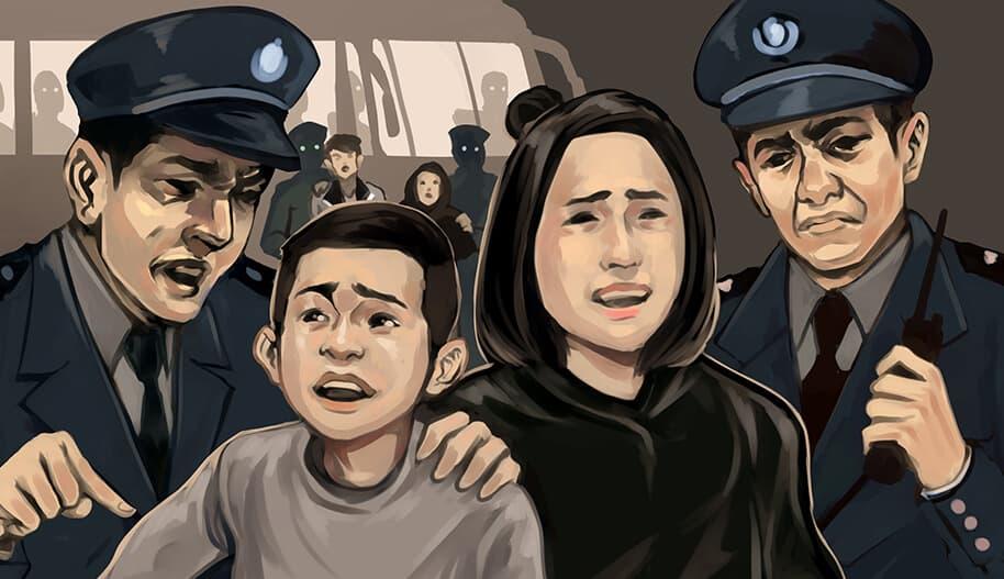 Uiguuriperhe ja poliisit