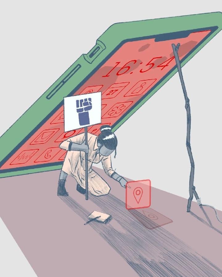 Kuvituskuva, jossa mielenosoittaja jäämässä tabletin varjoon tai alle
