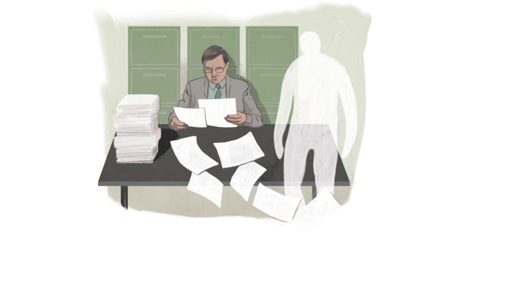 Haamu valtavan paperinivaskan edessö